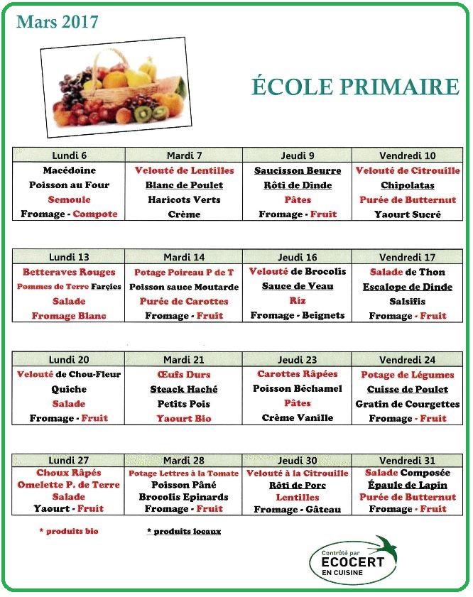 menu mars primaire